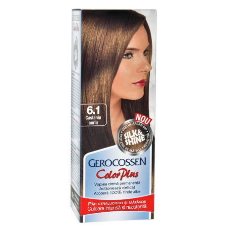 Vopsea de par Silk&Shine 6.1 Castaniu Auriu - Color Plus