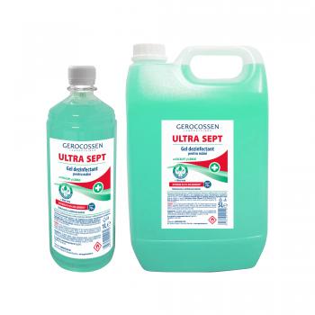 Pachet gel dezinfectant maini Biocid Ultra Sept: Gel dezinfectant 5 litri+Gel dezinfectant 1 litru