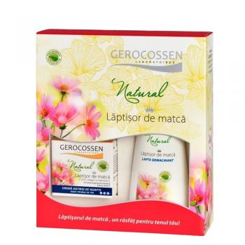 Caseta Cadou Natural Laptisor de Matca: Crema antirid de noapte + Lapte demachiant
