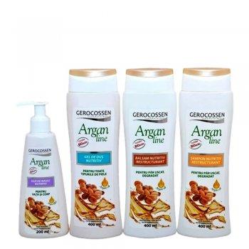 Pachet Argan Line - Nutritiv: Sampon + Balsam + Ulei de Masaj + Gel de dus