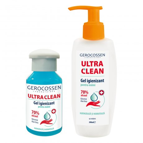 Pachet gel igienizant maini Ultra Clean:Gel igienizant 200 ml+Gel igienizant 100 ml