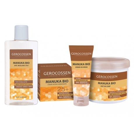 Pachet Manuka Bio ingrijire si hidratare: Crema 25+, Apa micelara, Unt de corp si Crema maini