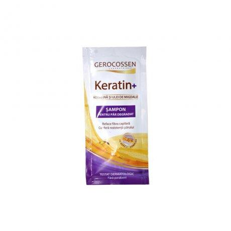 Plic sampon cu keratina pentru par degradat - Keratin+ 15 ml