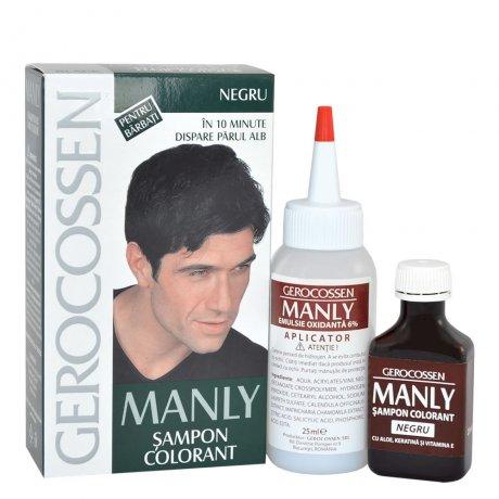 Sampon colorant pentru barbati - Negru - Manly