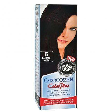 Vopsea de par Silk&Shine 5 Castaniu inchis - Color Plus